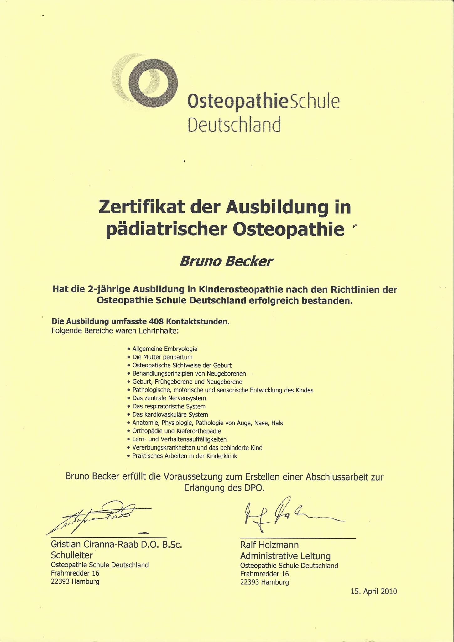 Bruno Becker Zeugnis Pädiatrische Osteopathie