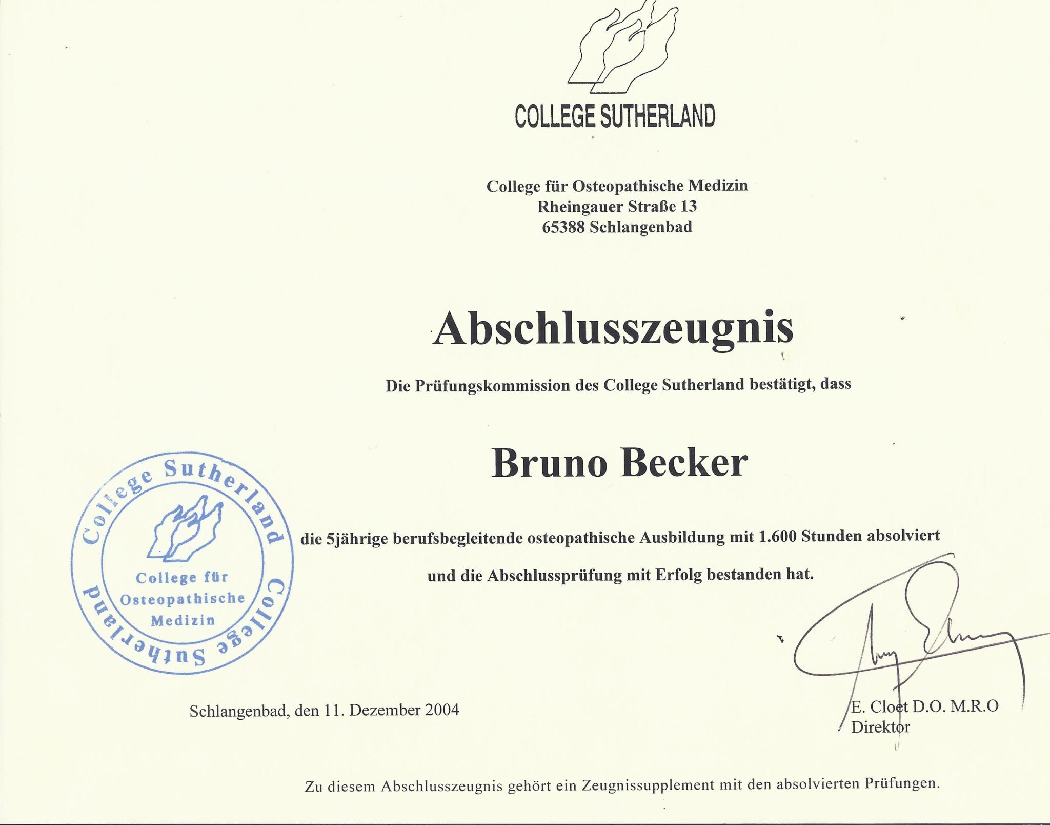 Bruno Becker Osteopathie College Sutherland