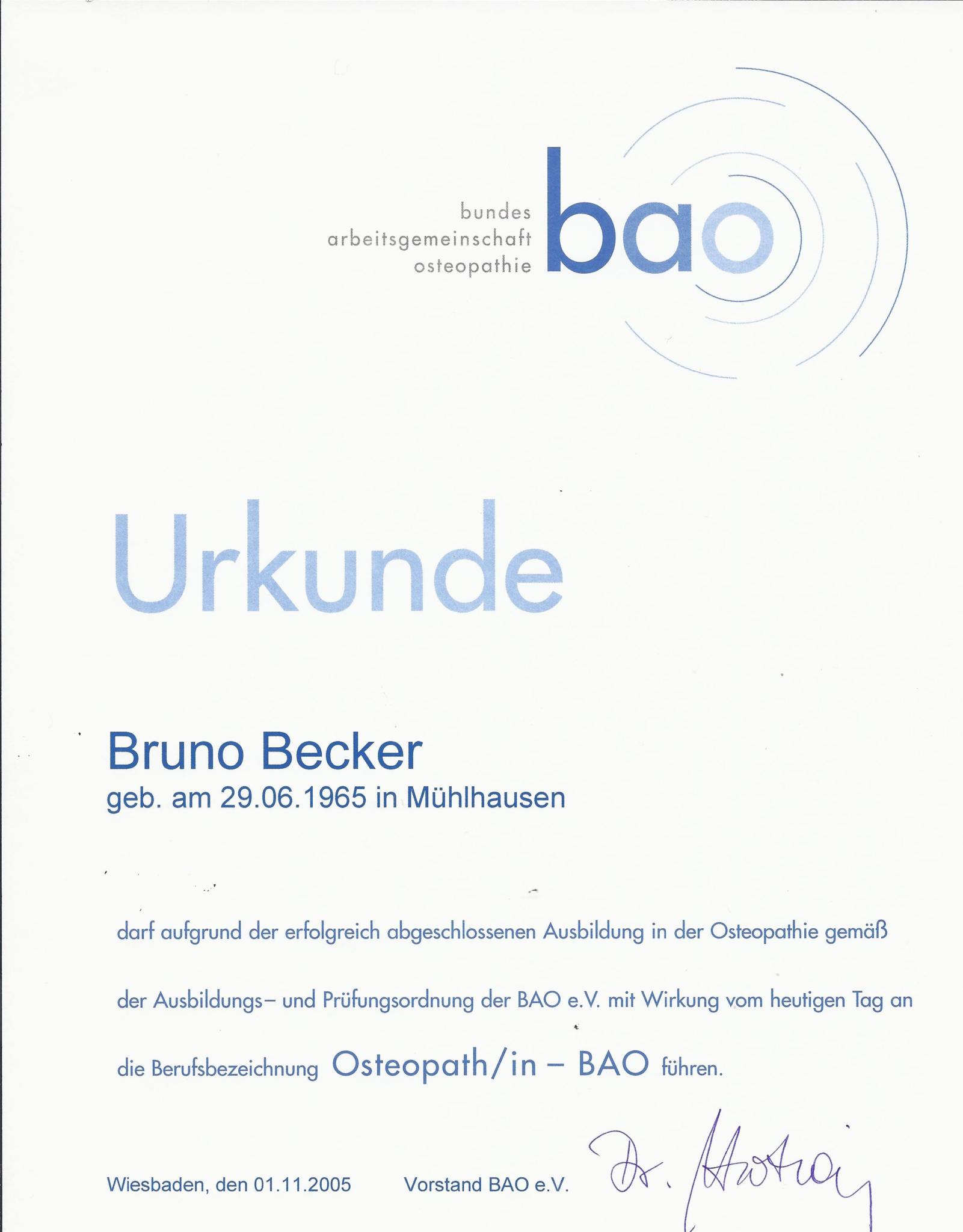 Bruno Becker Osteopathie Urkunde