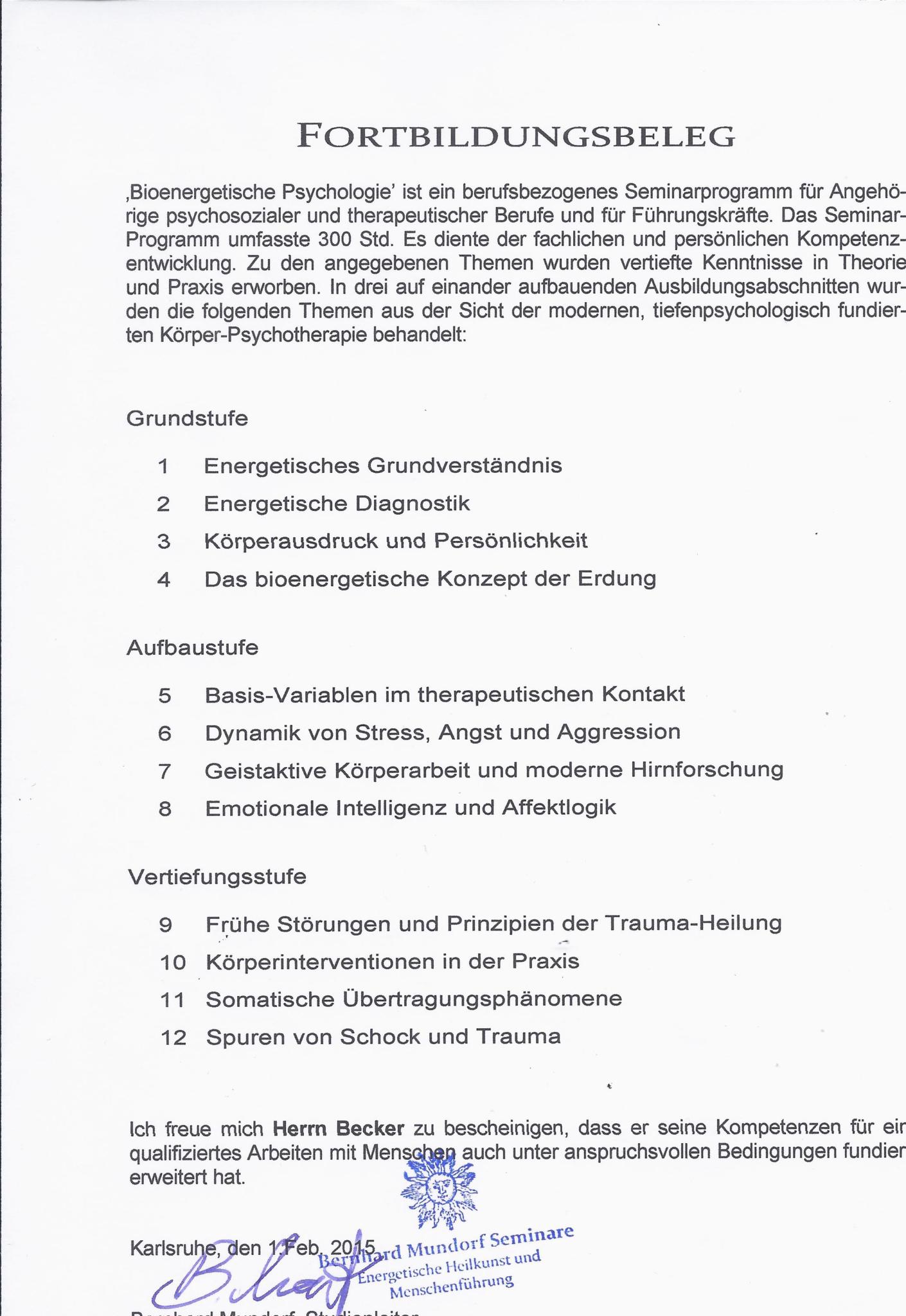 Osteopathie Becker Fortbildungsbeleg