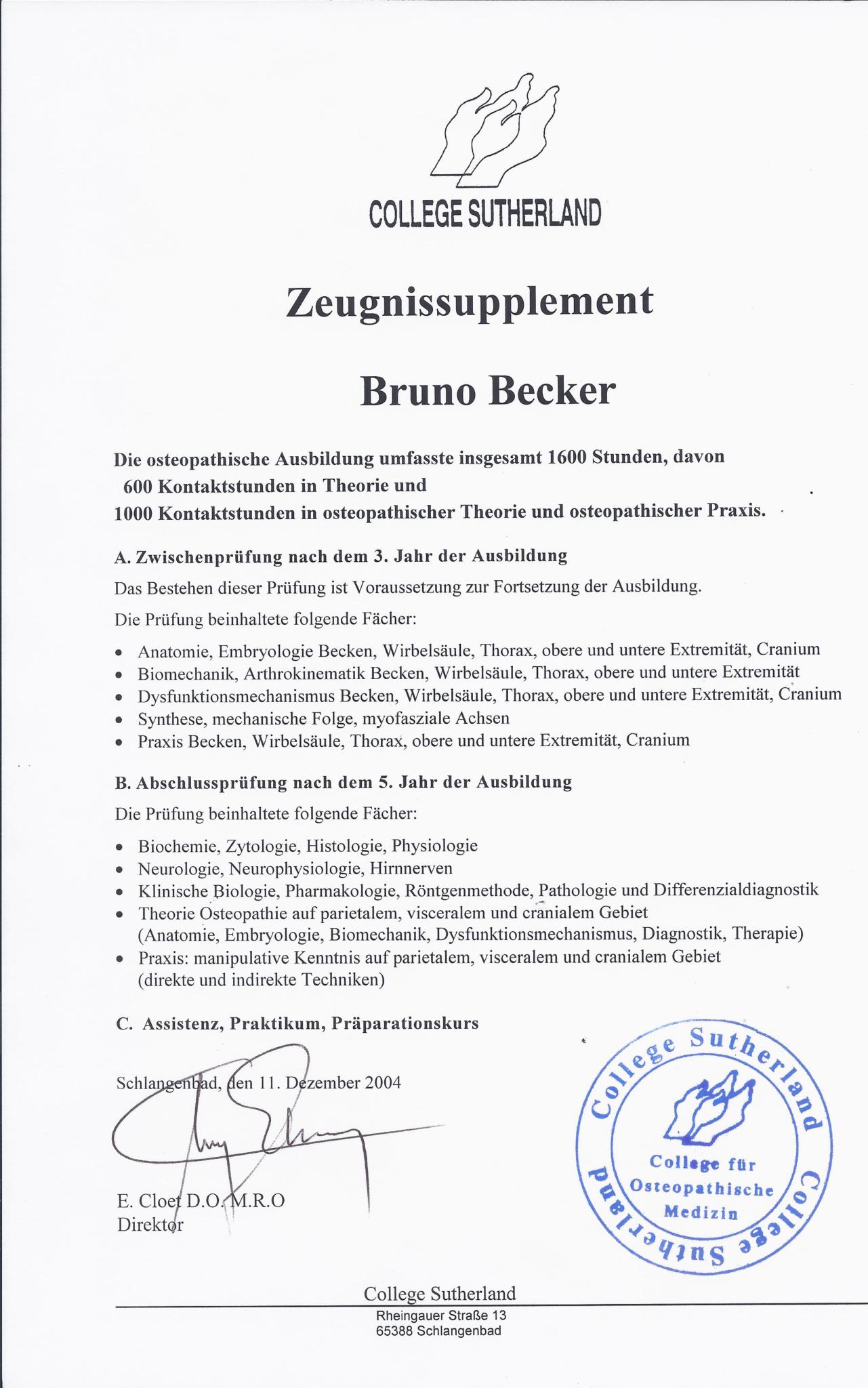 Osteopathie Becker Zeugnissupplement