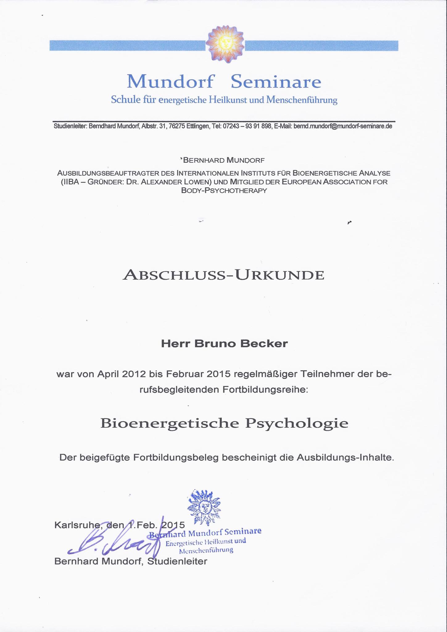 Bruno Becker Osteopathie Abschlussurkunde